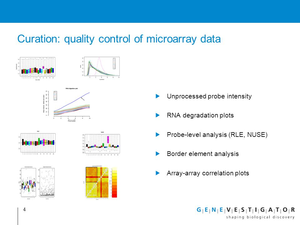 Curation: quality control of microarray data