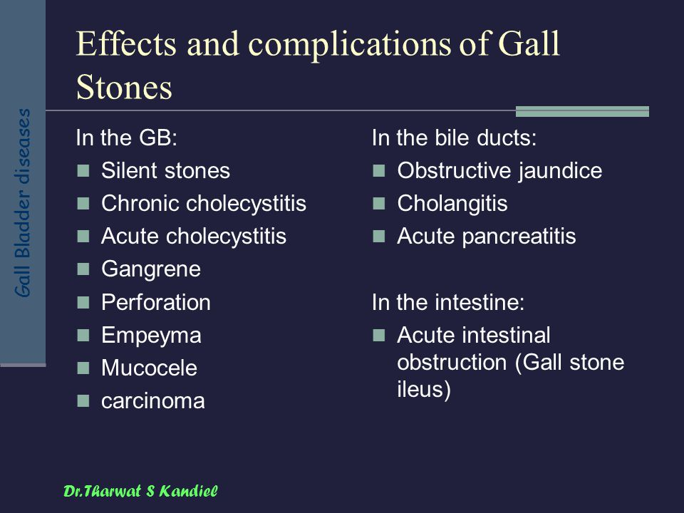 Effects and complications of Gall Stones