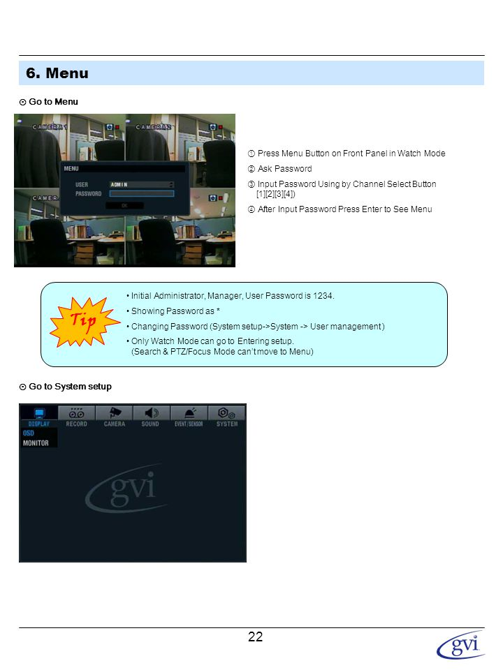 6. Menu 1.Display - Video Setup for Watch Mode