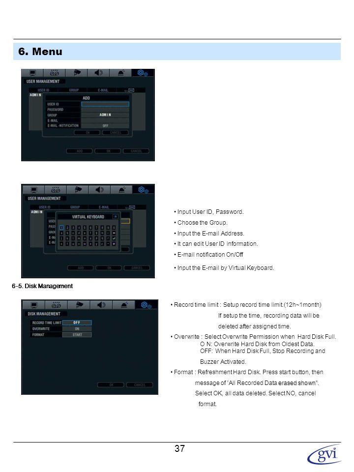 6. Menu 6-6. System Management • F/W version: Server firmware version.
