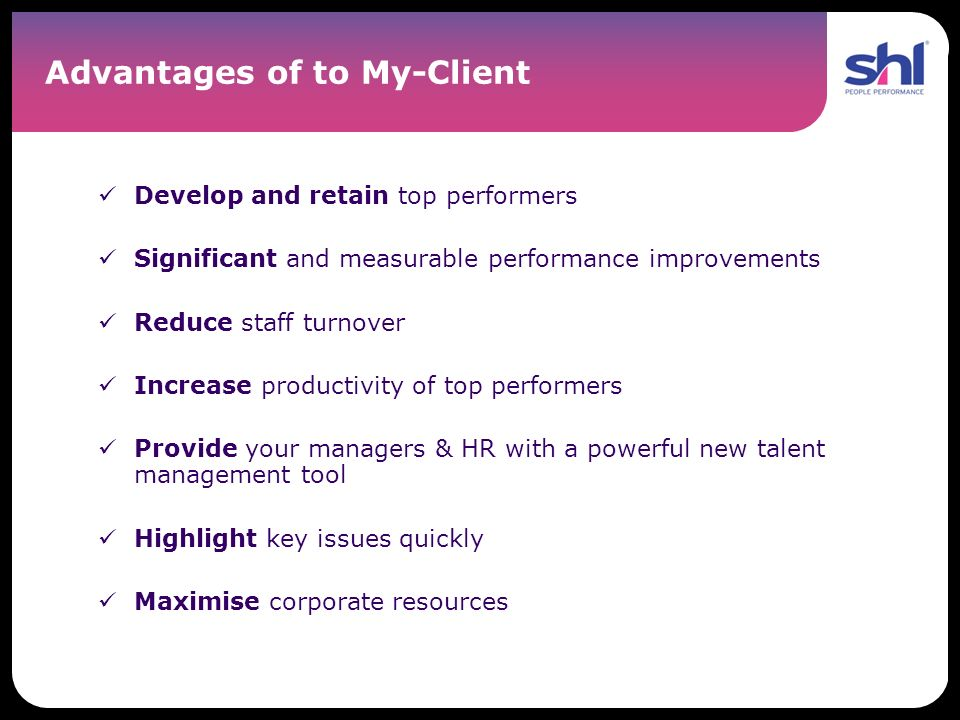 Advantages of to My-Client