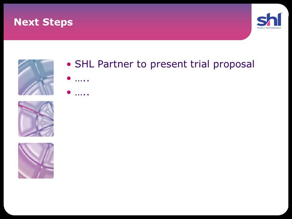 Next Steps SHL Partner to present trial proposal …..