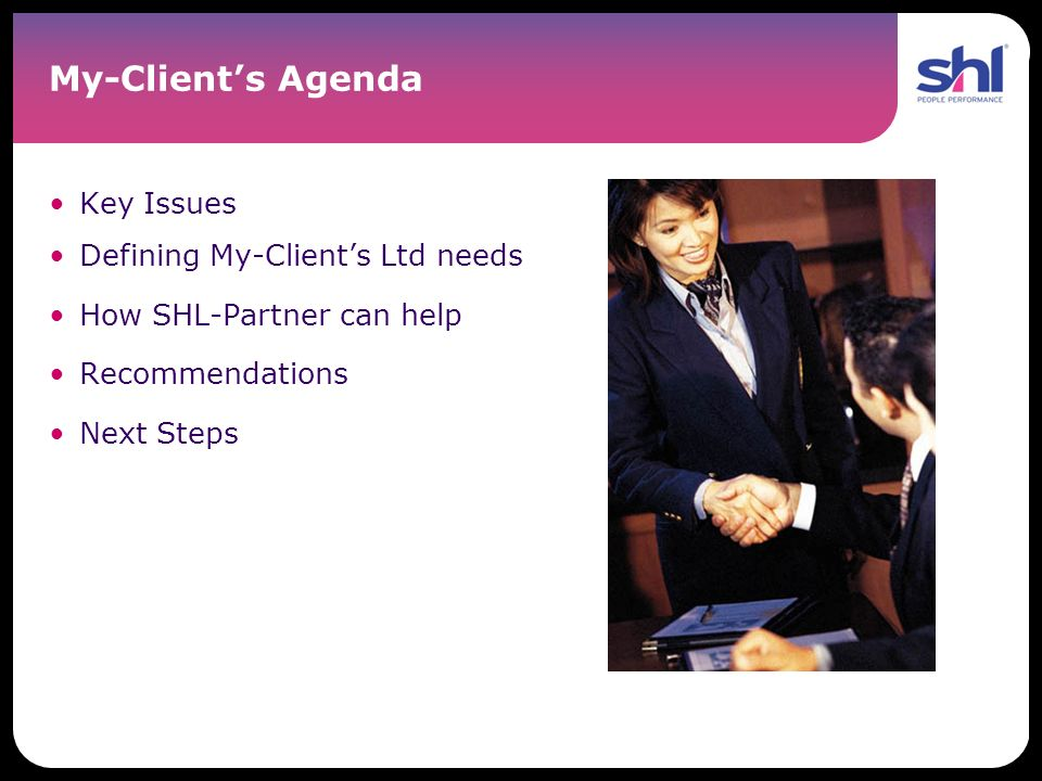 My-Client's Agenda Key Issues Defining My-Client's Ltd needs