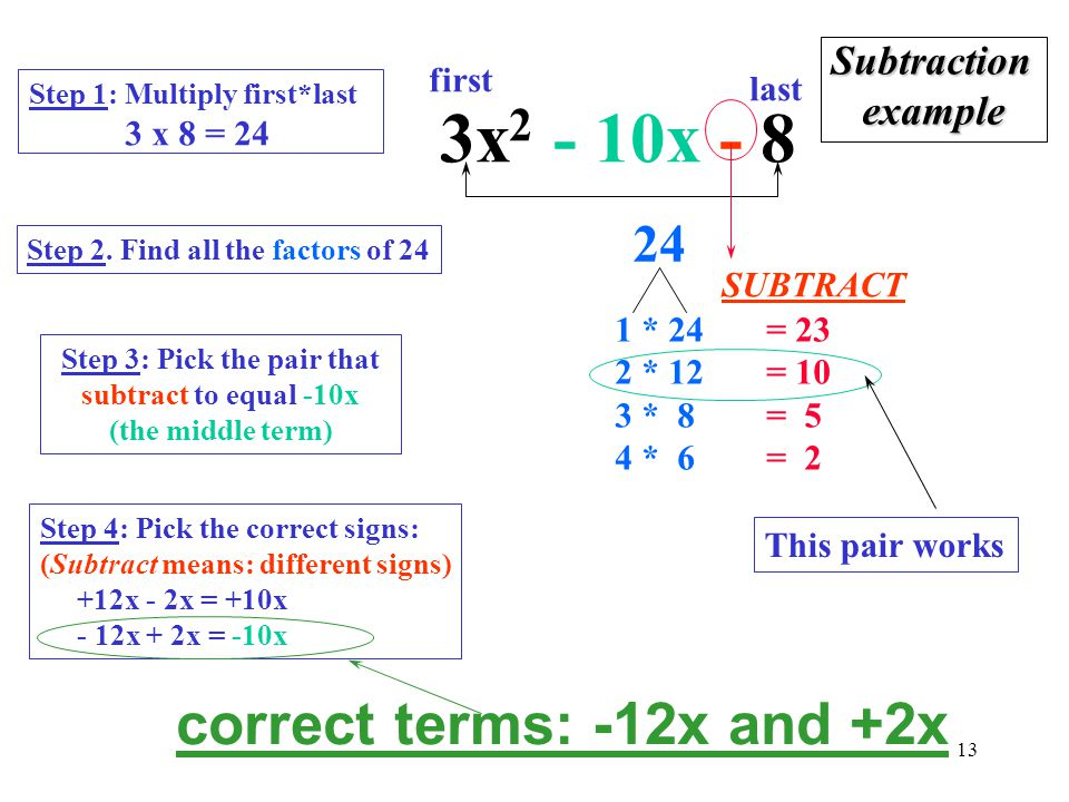 Step 3: Pick the pair that subtract to equal -10x