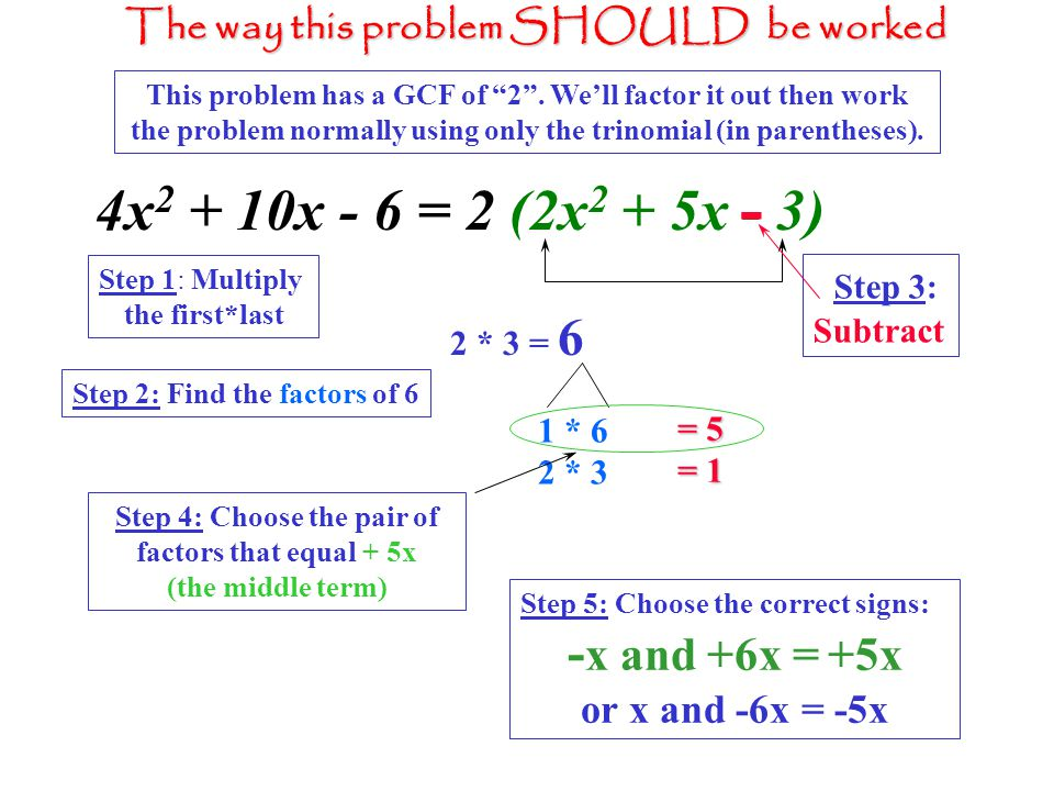 Step 4: Choose the pair of factors that equal + 5x