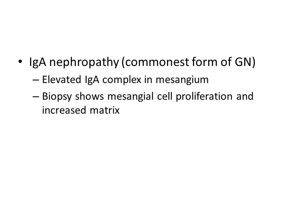IgA nephropathy (commonest form of GN)