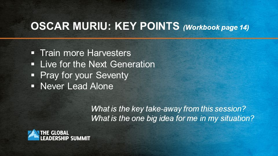OSCAR MURIU: KEY POINTS (Workbook page 14)