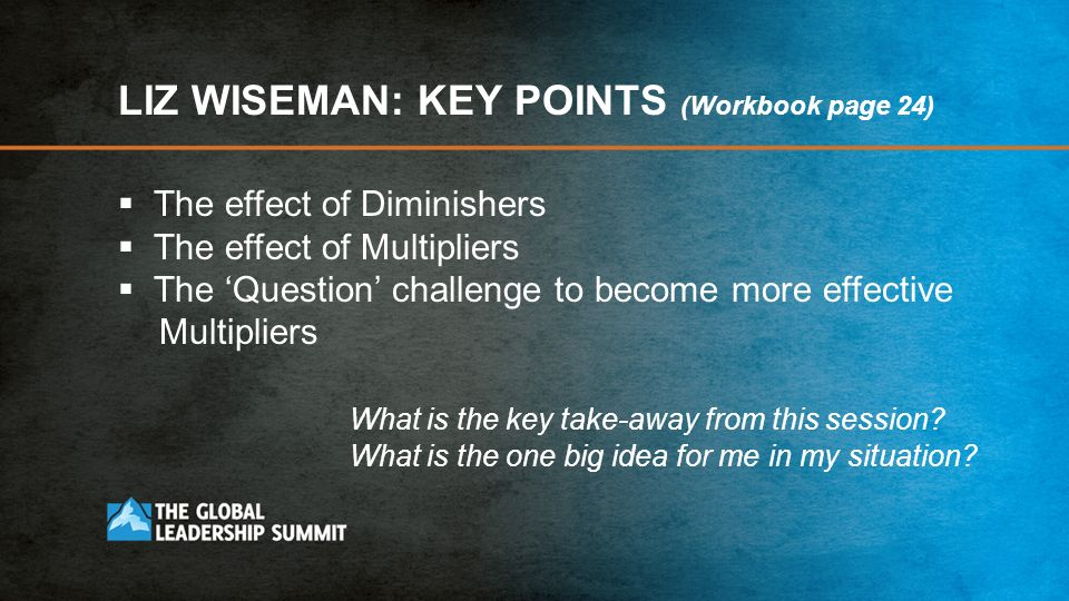 LIZ WISEMAN: KEY POINTS (Workbook page 24)