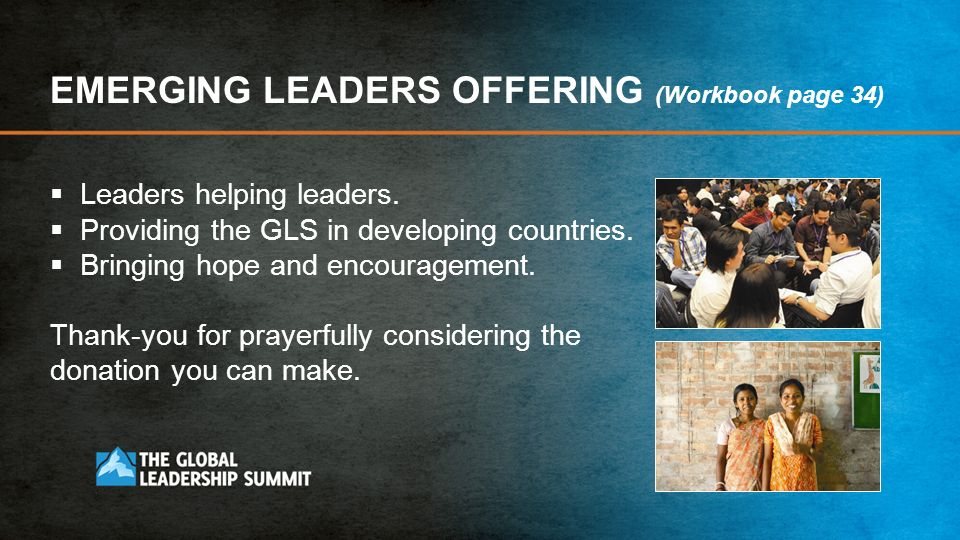 EMERGING LEADERS OFFERING (Workbook page 34)