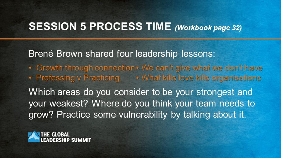 SESSION 5 PROCESS TIME (Workbook page 32)