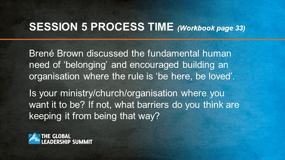 SESSION 5 PROCESS TIME (Workbook page 33)
