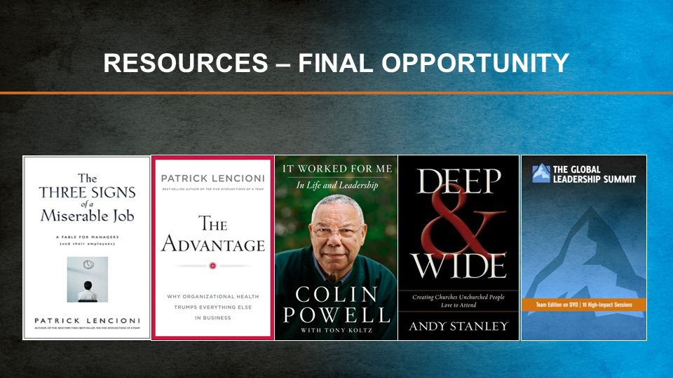 RESOURCES – FINAL OPPORTUNITY