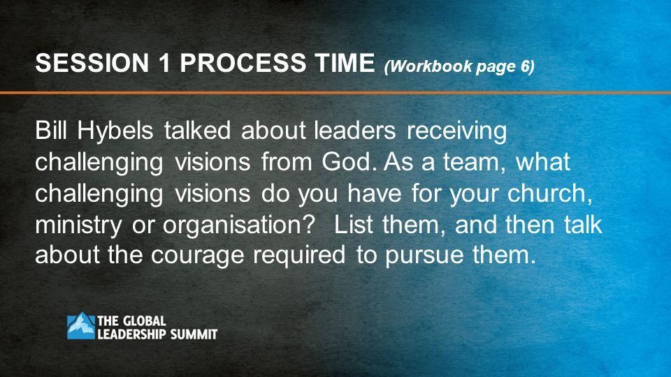 SESSION 1 PROCESS TIME (Workbook page 6)