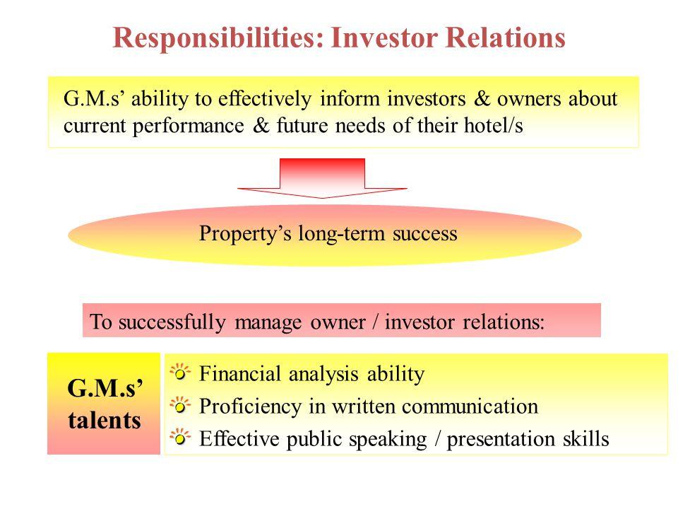 Responsibilities: Investor Relations