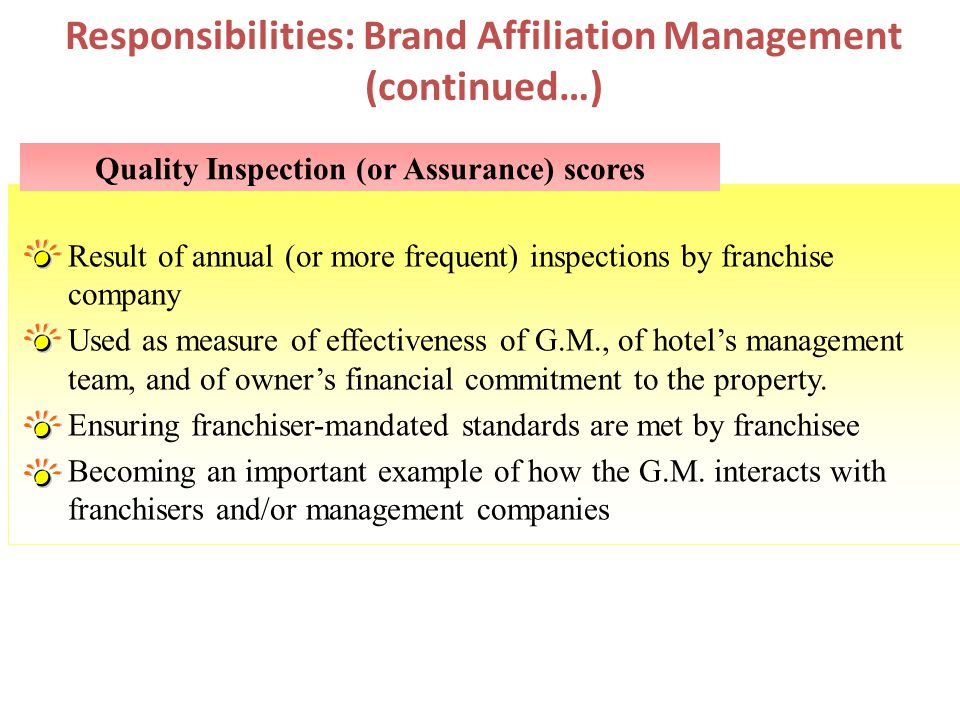 Responsibilities: Brand Affiliation Management (continued…)