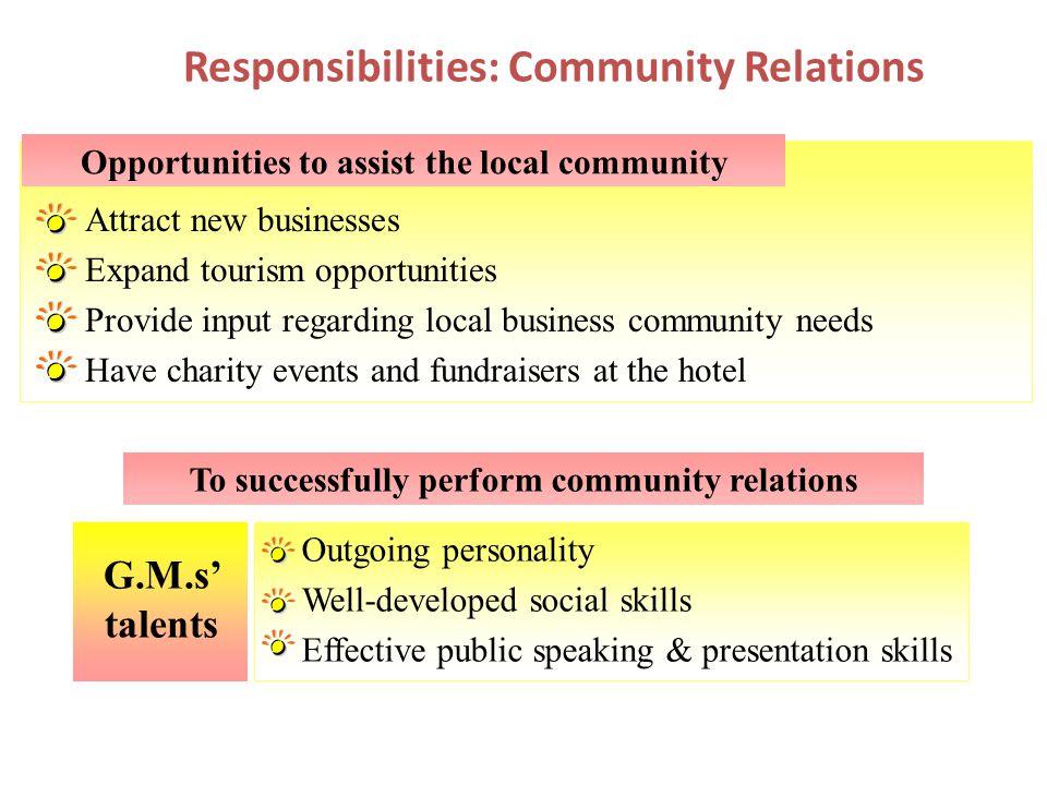 Responsibilities: Community Relations