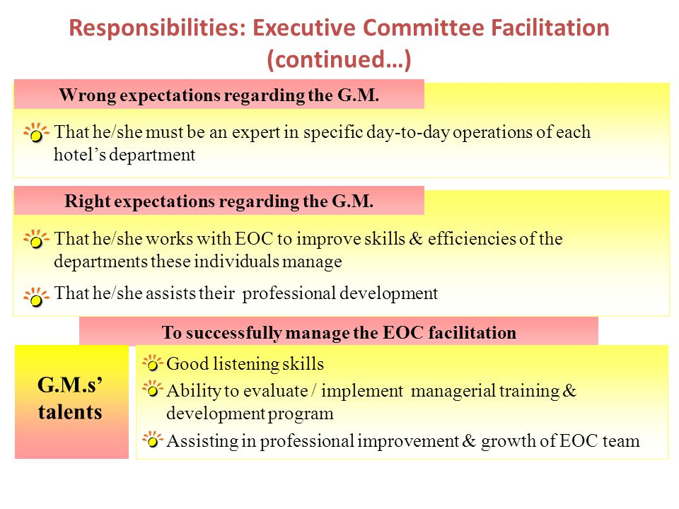 Responsibilities: Executive Committee Facilitation (continued…)