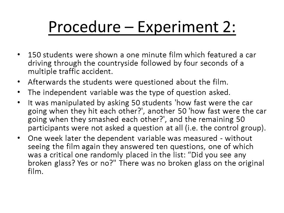 Procedure – Experiment 2: