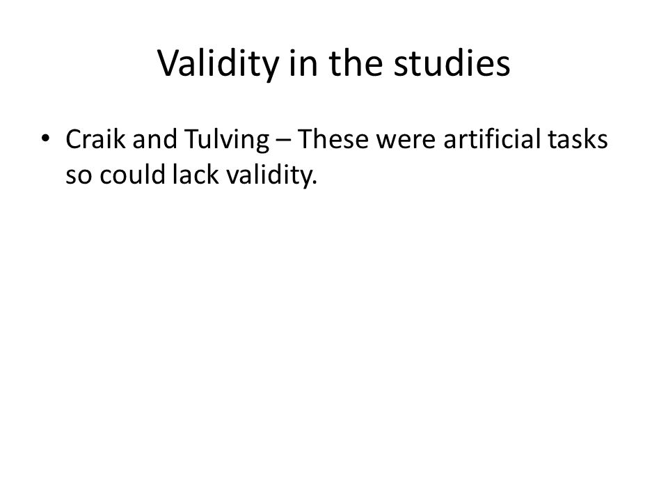 Validity in the studies