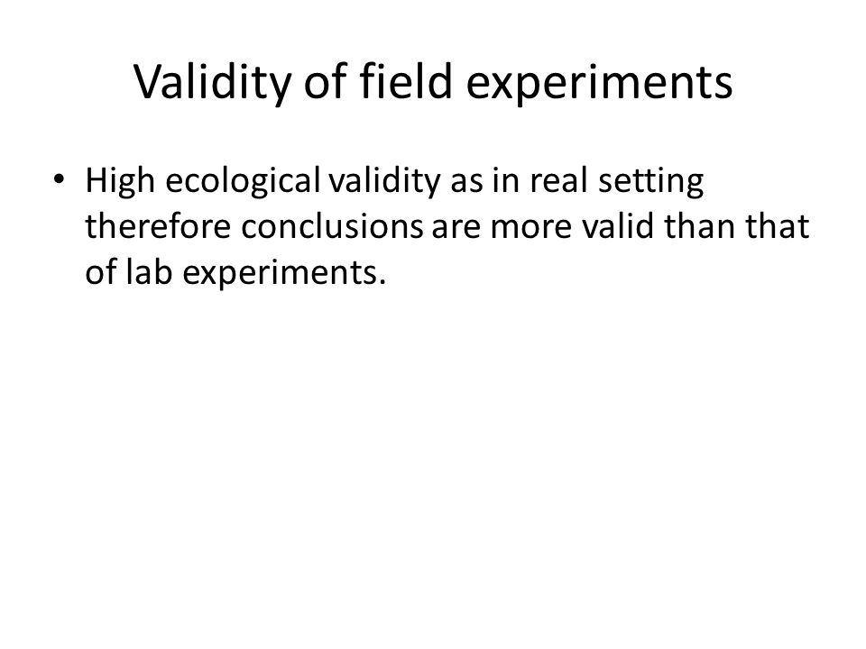 Validity of field experiments