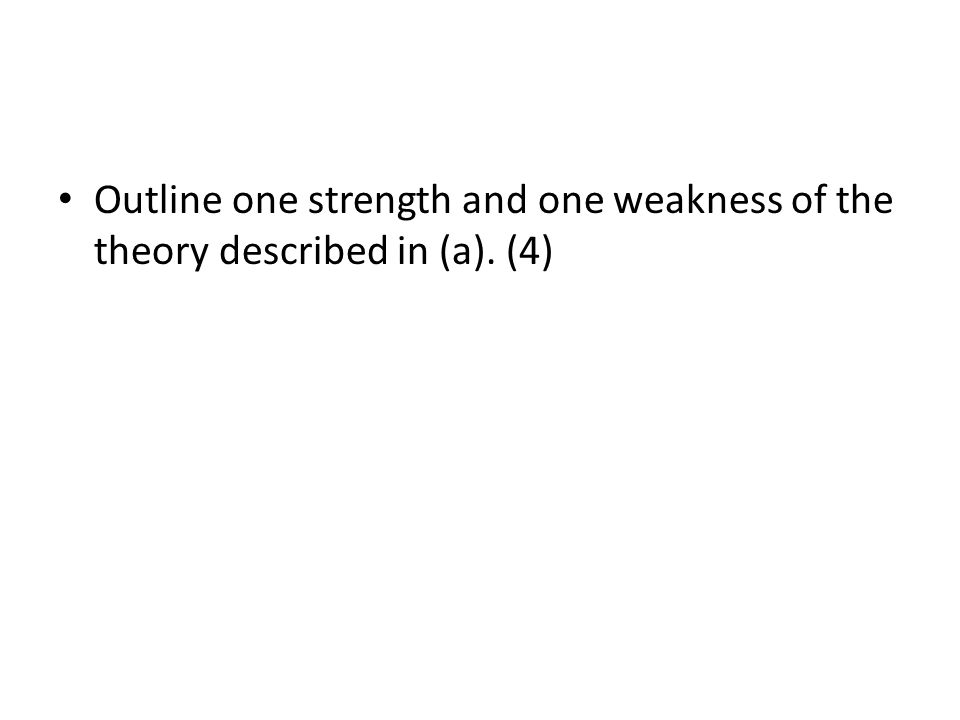 Outline one strength and one weakness of the theory described in (a)