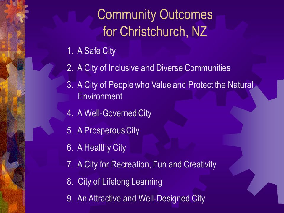 Community Outcomes for Christchurch, NZ