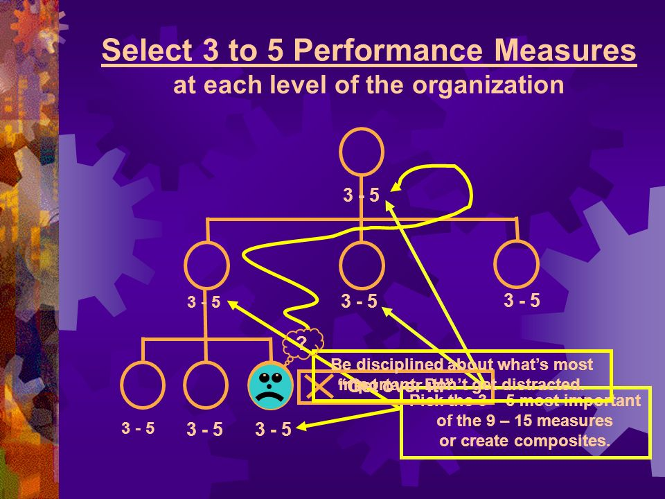 Select 3 to 5 Performance Measures at each level of the organization