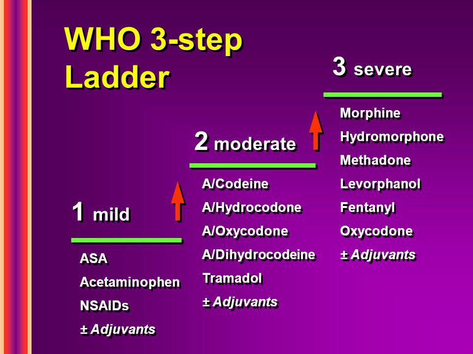 WHO 3-step Ladder 3 severe 2 moderate 1 mild Morphine Hydromorphone