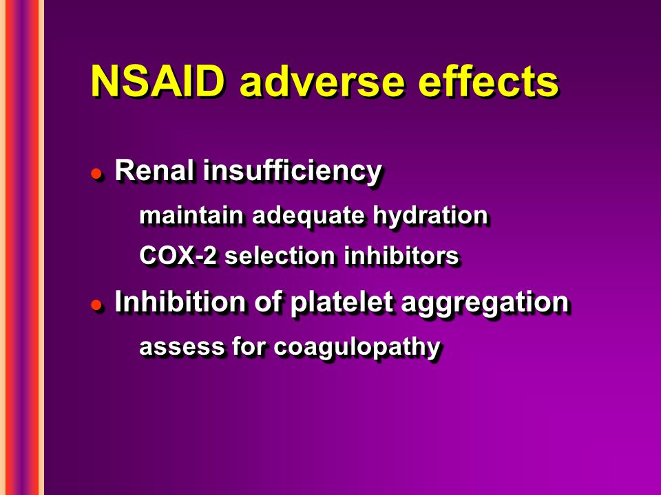 NSAID adverse effects Renal insufficiency