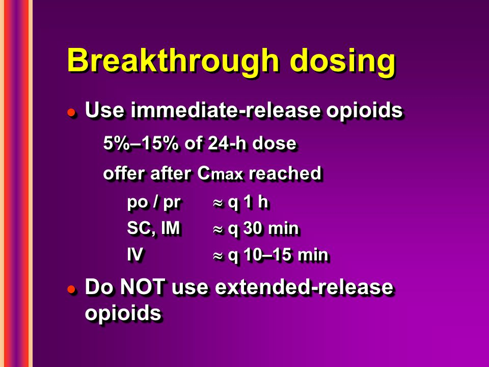 Breakthrough dosing Use immediate-release opioids
