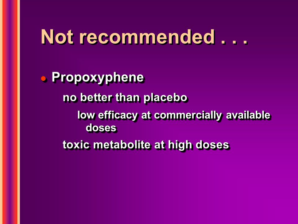 Not recommended . . . Propoxyphene no better than placebo