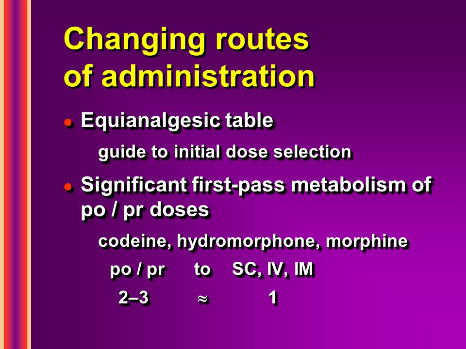 Changing routes of administration