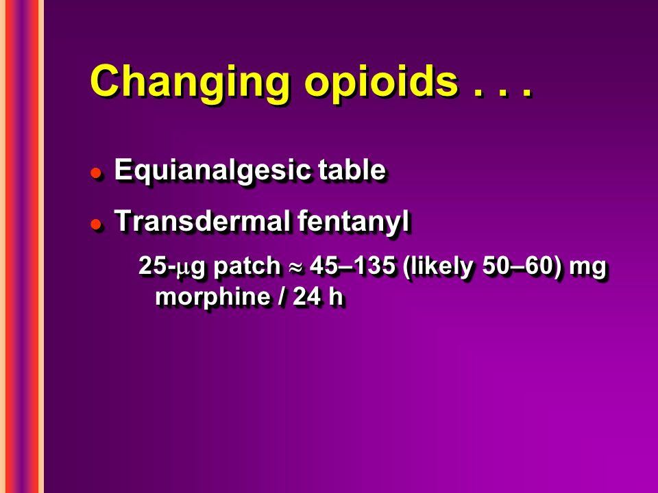 Changing opioids . . . Equianalgesic table Transdermal fentanyl