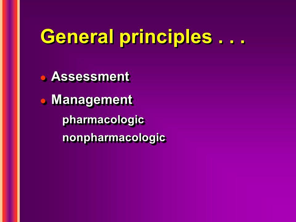 General principles . . . Assessment Management pharmacologic