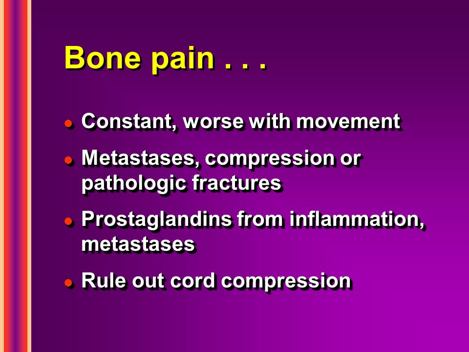 Bone pain . . . Constant, worse with movement