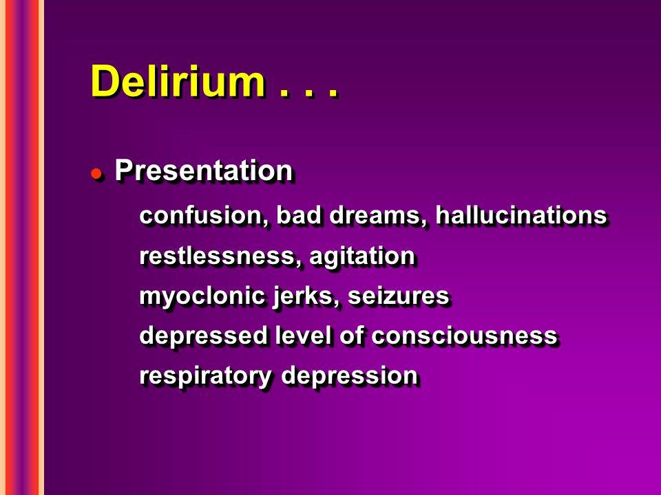 Delirium . . . Presentation confusion, bad dreams, hallucinations