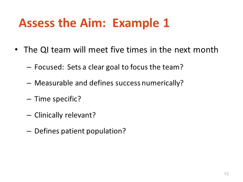Assess the Aim: Example 1