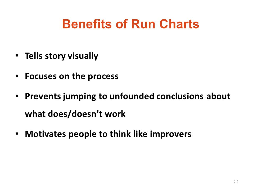 Benefits of Run Charts Tells story visually Focuses on the process