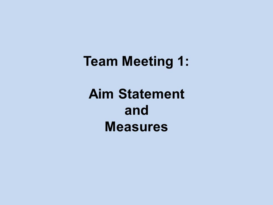Team Meeting 1: Aim Statement and Measures