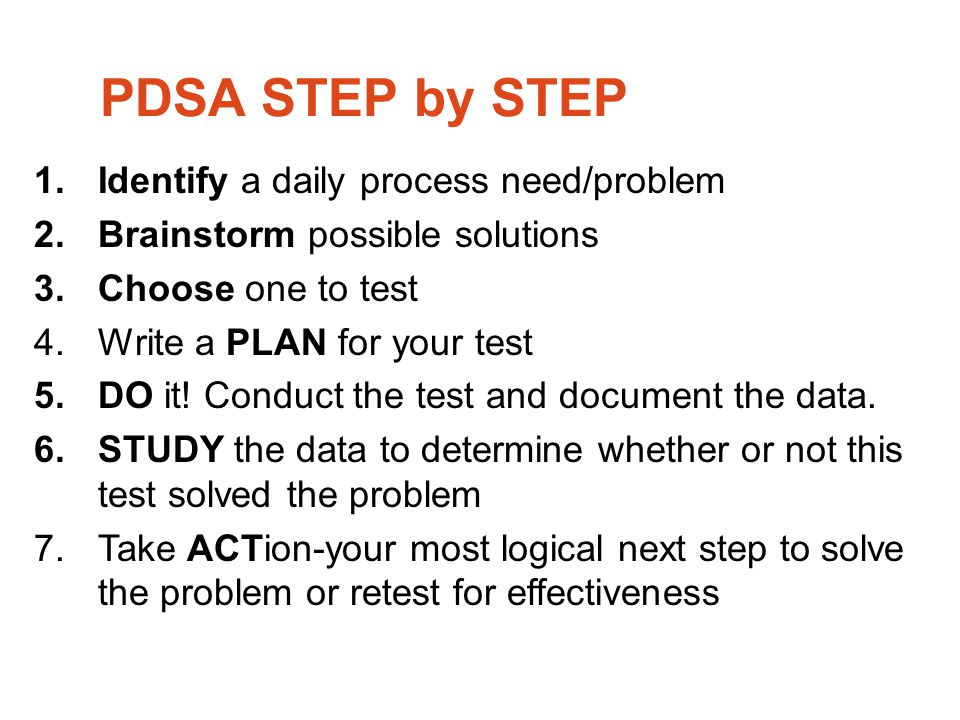 PDSA STEP by STEP Identify a daily process need/problem