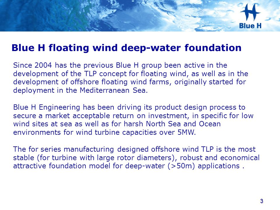 Blue H floating wind deep-water foundation