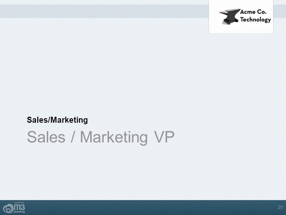 Sales/Marketing Sales / Marketing VP 20