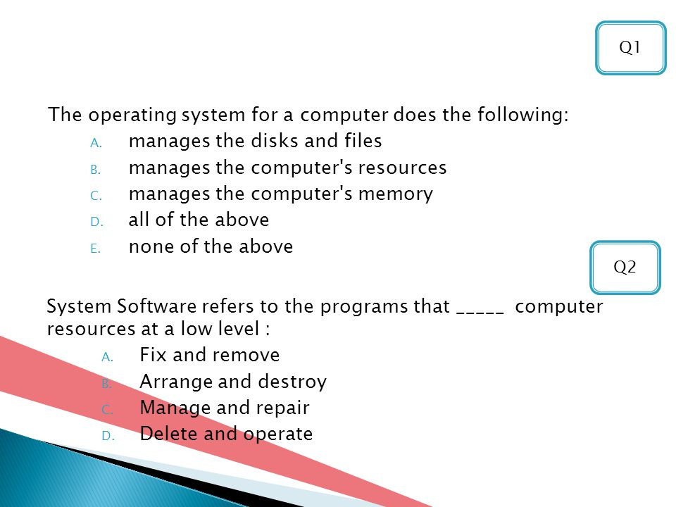 The operating system for a computer does the following: