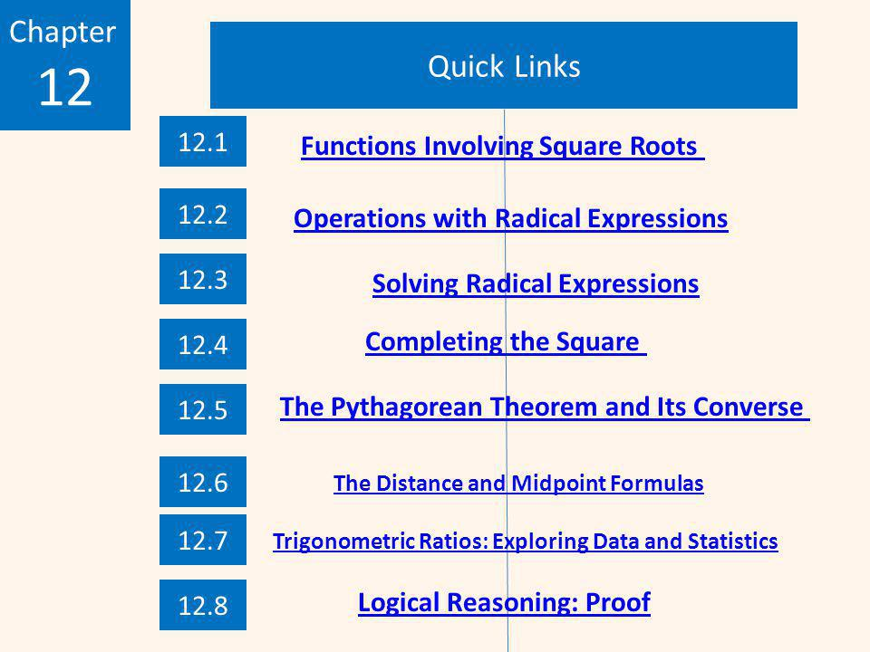 12 Chapter Quick Links 12.1 Functions Involving Square Roots 12.2