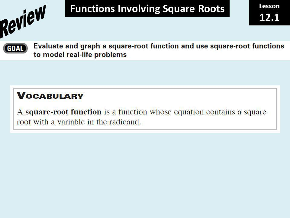 Functions Involving Square Roots