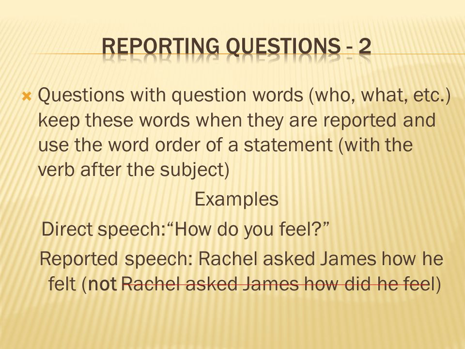 Reporting questions - 2