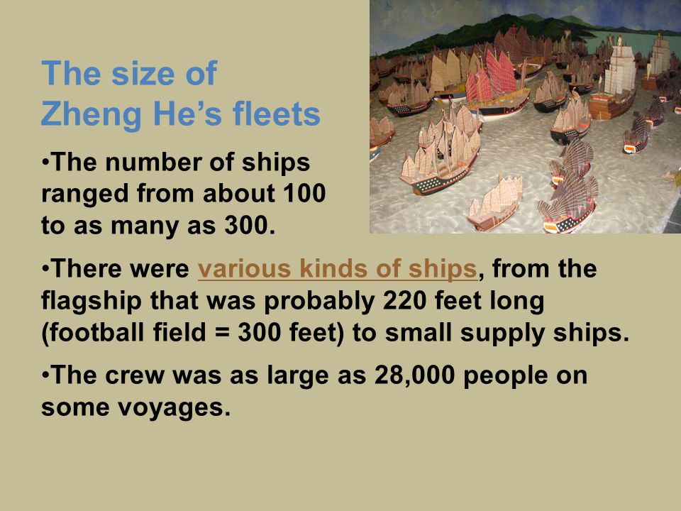 The size of Zheng He's fleets