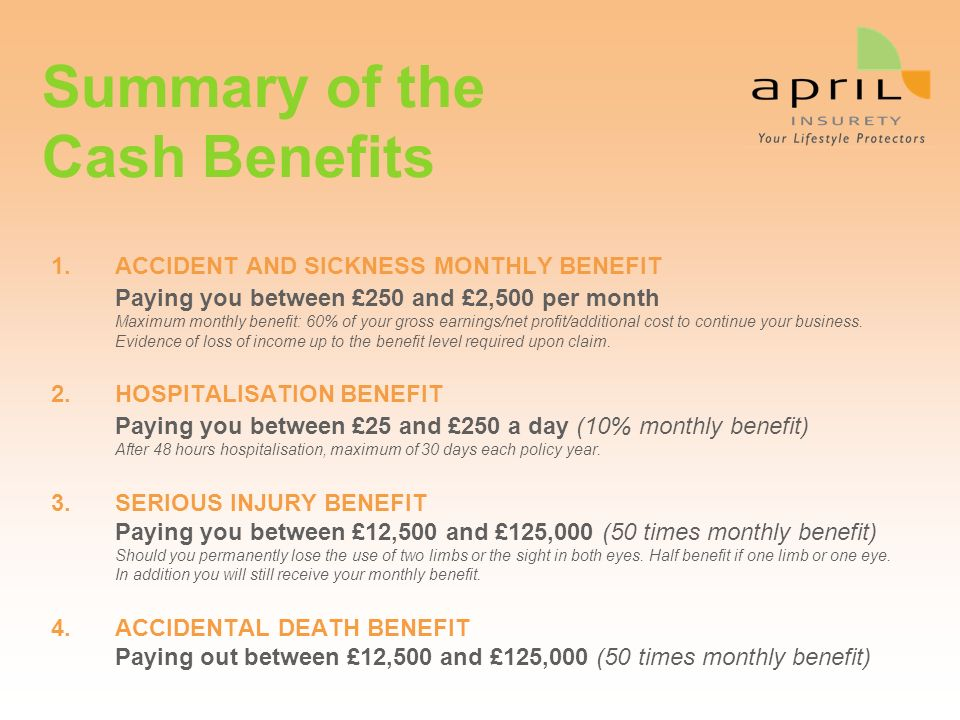 Summary of the Cash Benefits