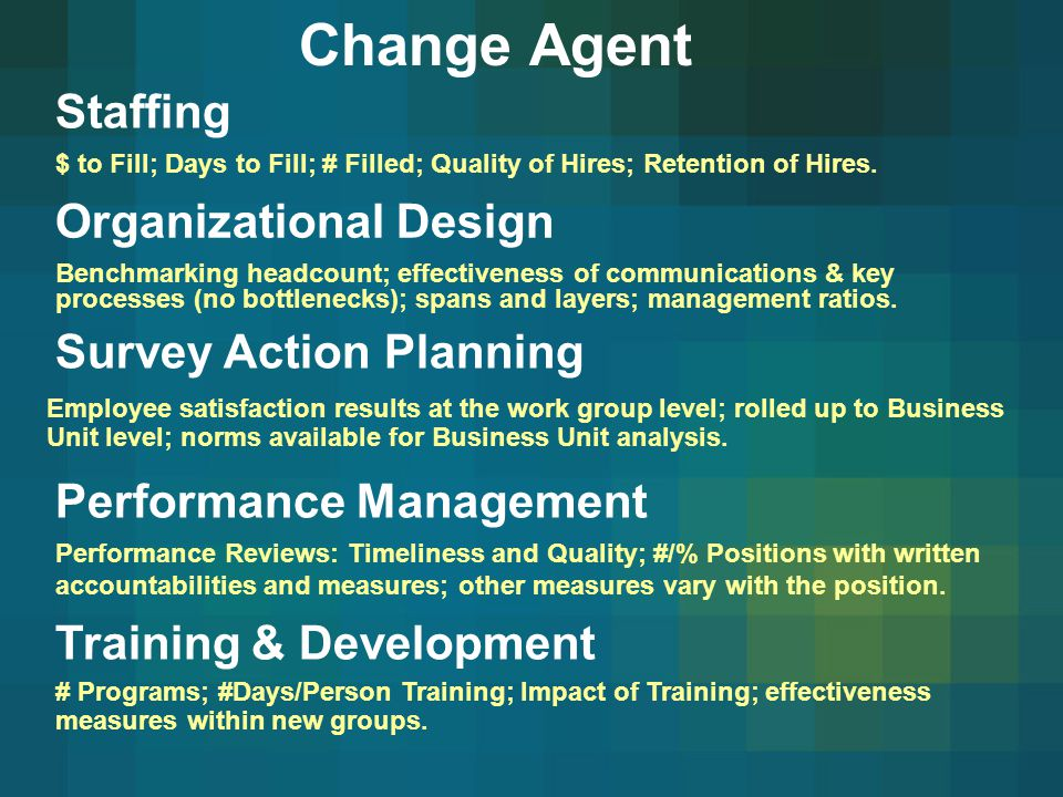 Change Agent Staffing Organizational Design Survey Action Planning