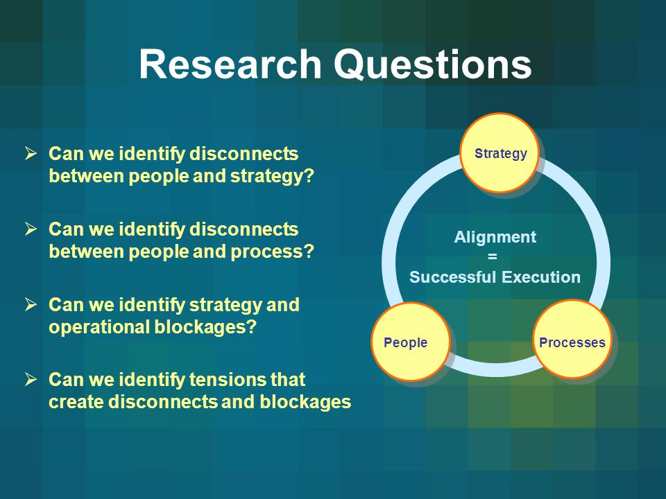 Research Questions Can we identify disconnects between people and strategy Can we identify disconnects between people and process